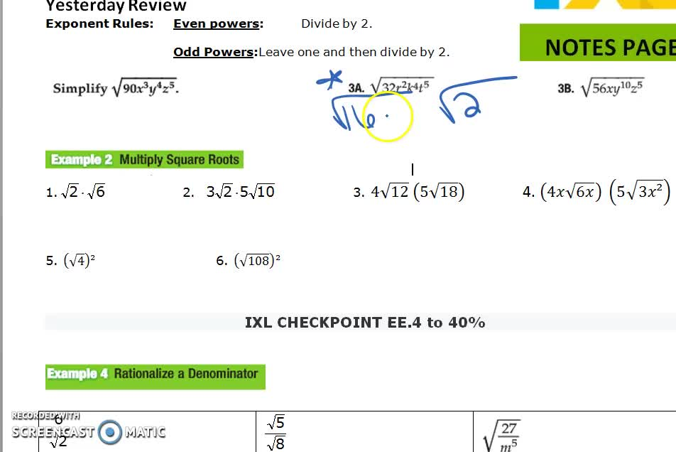 10-2 Notes B Simplifying Radical Expressions