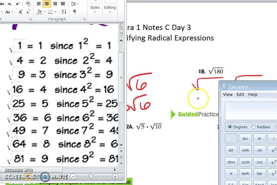 10-2c  Simplifying Radical Expressions Notes Day 3