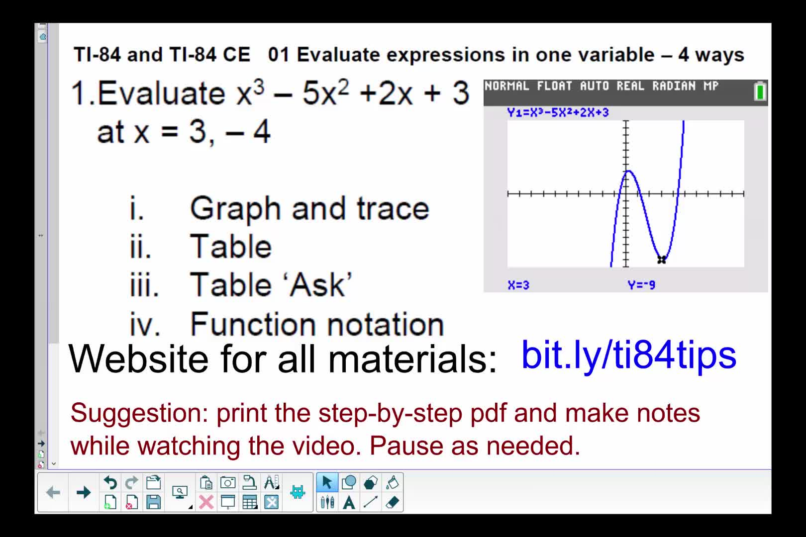 01_Evaluate_Expressions_4_Ways_TI84andTI84CE