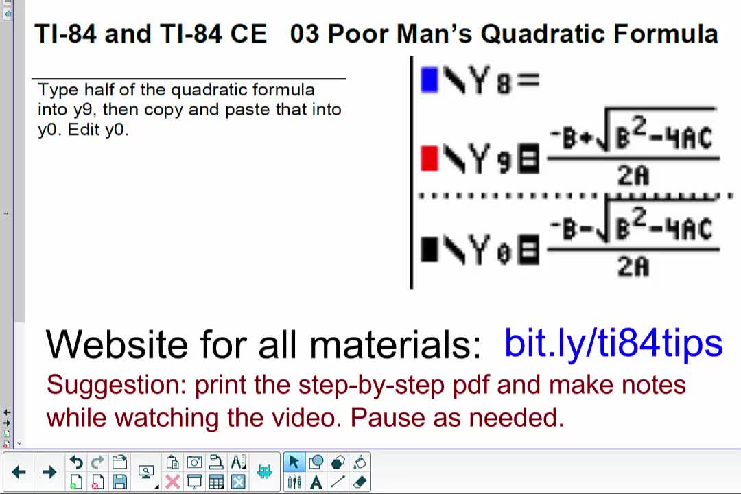 03_Poor_Person's_Quadratic_Formula_TI84andTI84CE
