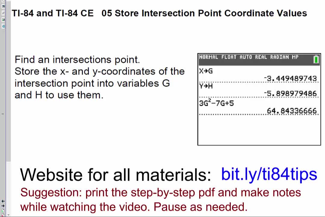 05_Store_Intersection_Point_Coordinate_Values_TI84andTI84CE