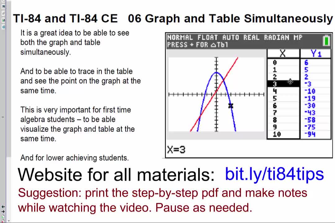 06_Graph_and_Table_Simultaneously_TI84andTI84CE