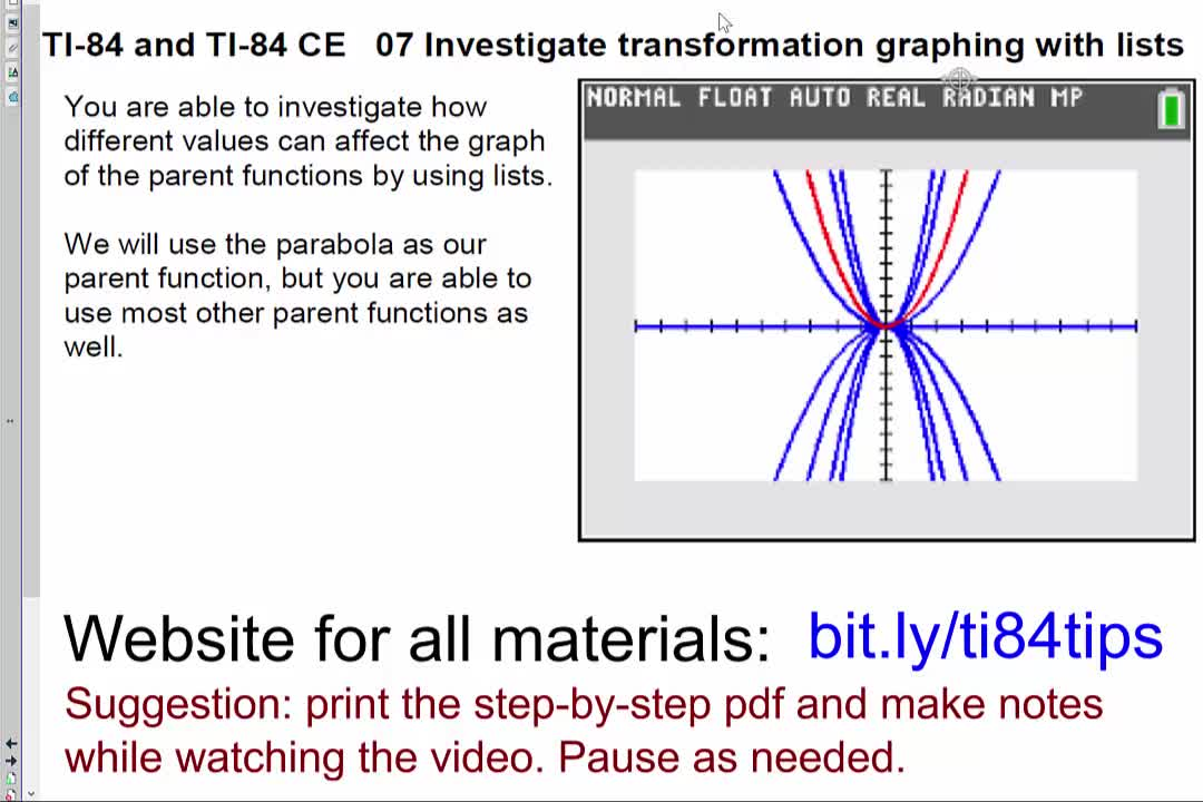 07_Investigate_Transformation_Graphing_with_Lists_TI84andTI84CE