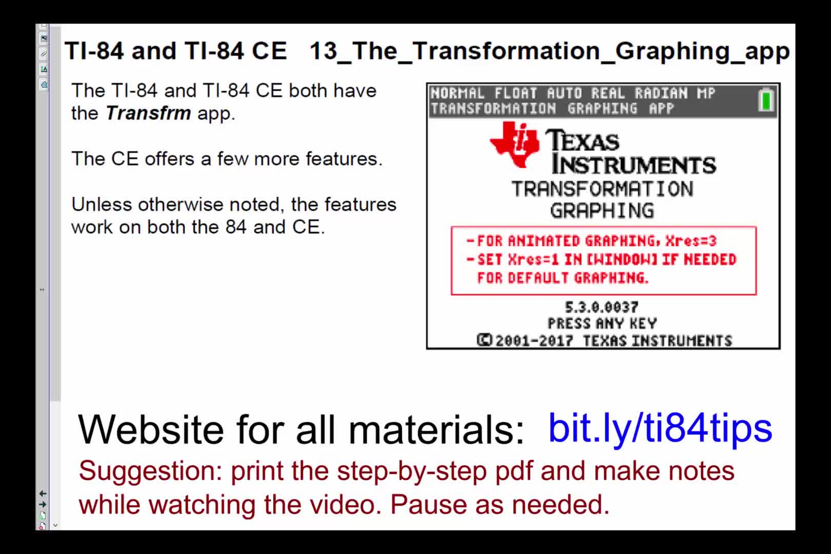 13_The_Transformation_Graphing_App_TI84andTI84CE