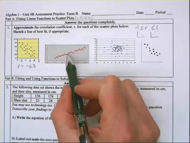 Algebra 1 Unit 4B Practice Assessment Form B
