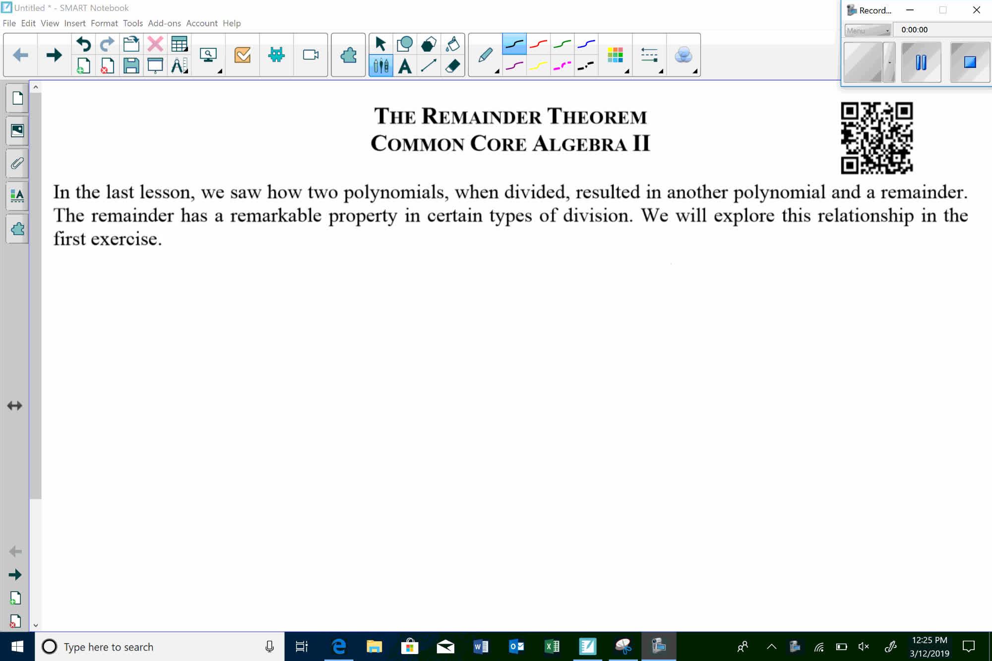 "Unit 10 - Lesson 11 ""The Remainder Theorem"""