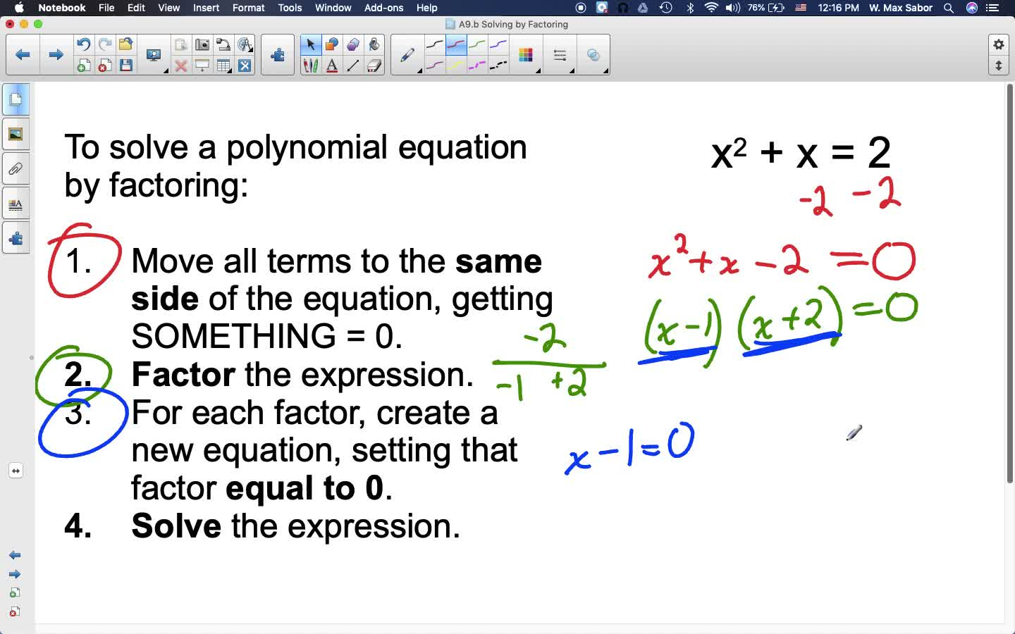 A9.b Solving by Factoring