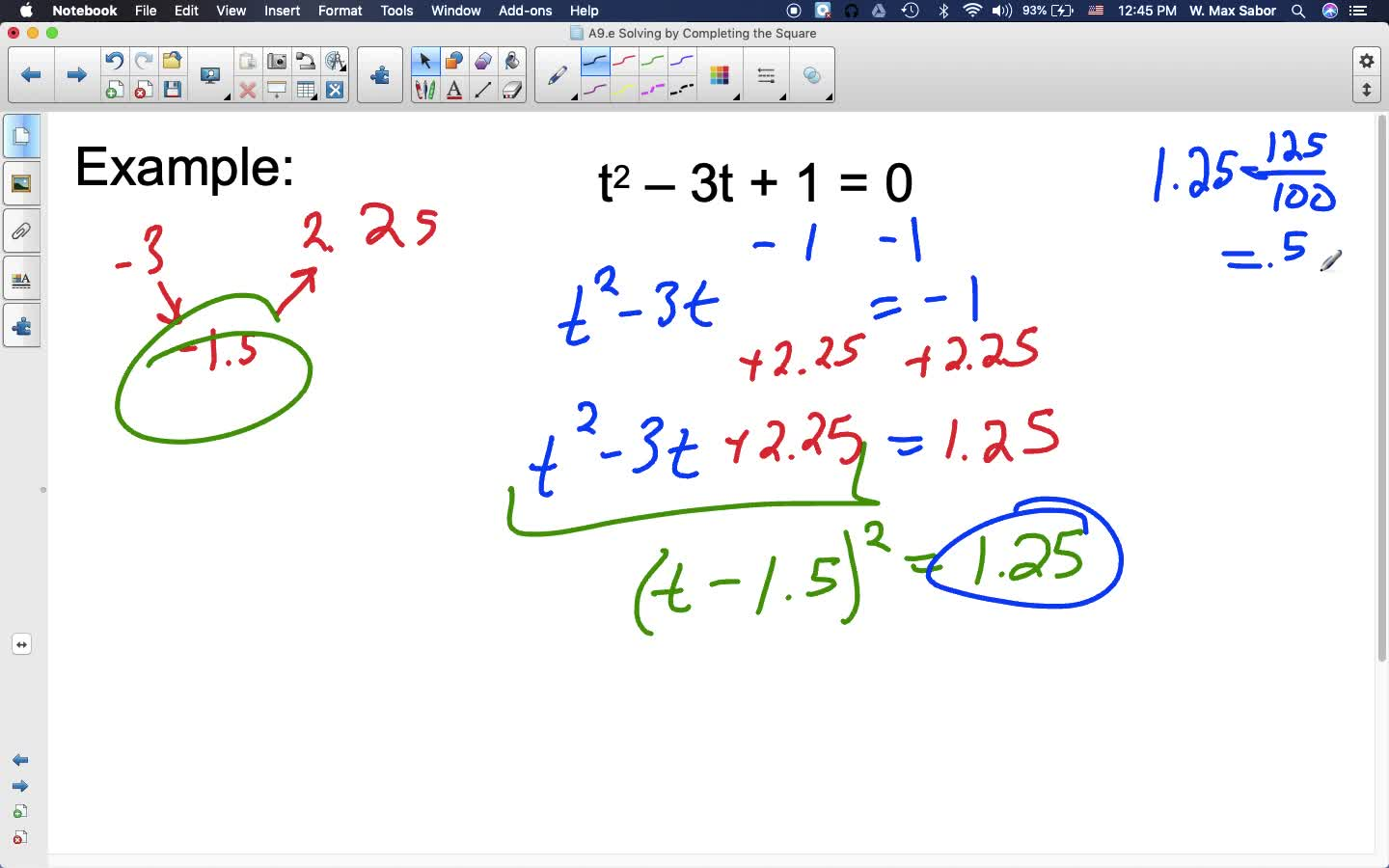 A9.e Solving by Completing the Square