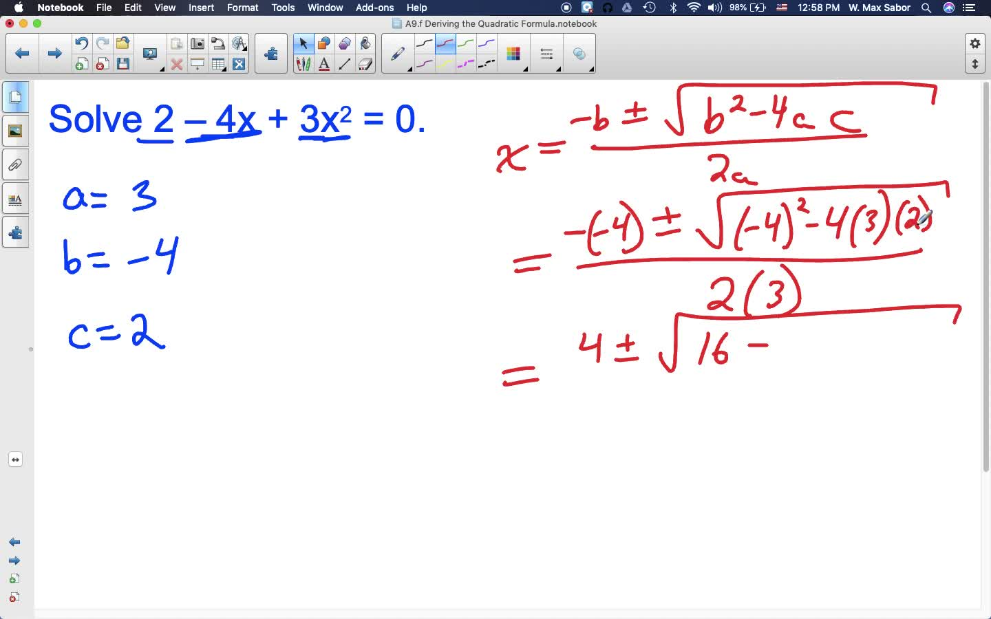 A9.f Deriving the Quadratic Formula