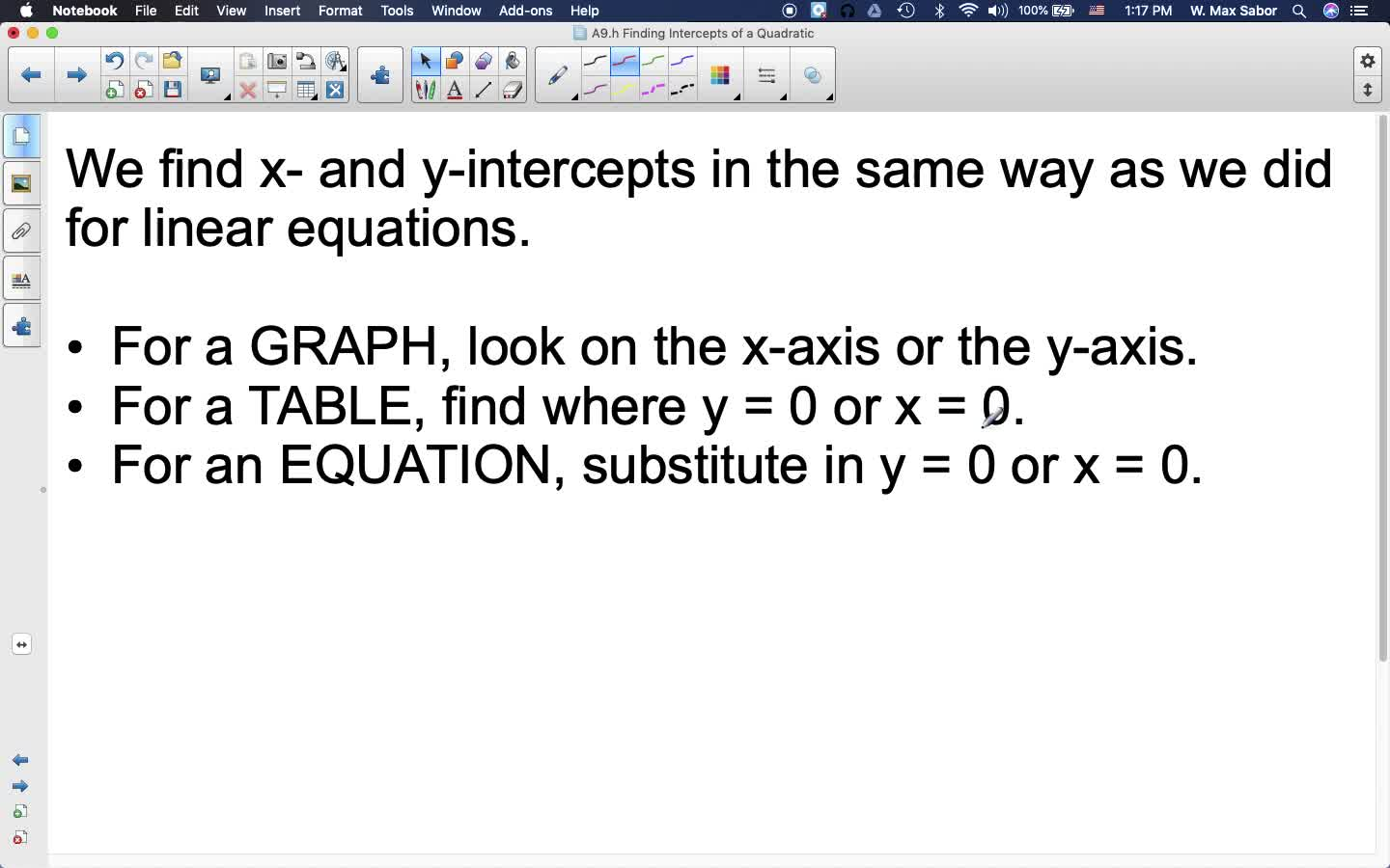 A9.h Finding Intercepts of a Quadratic