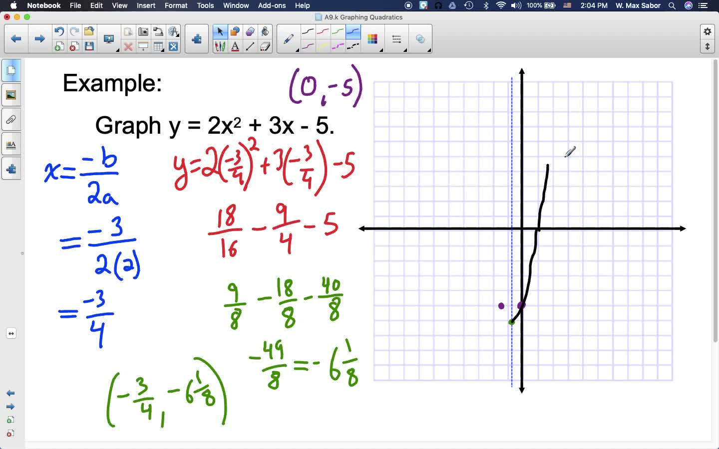 A9.k Graphing Quadratic Functions
