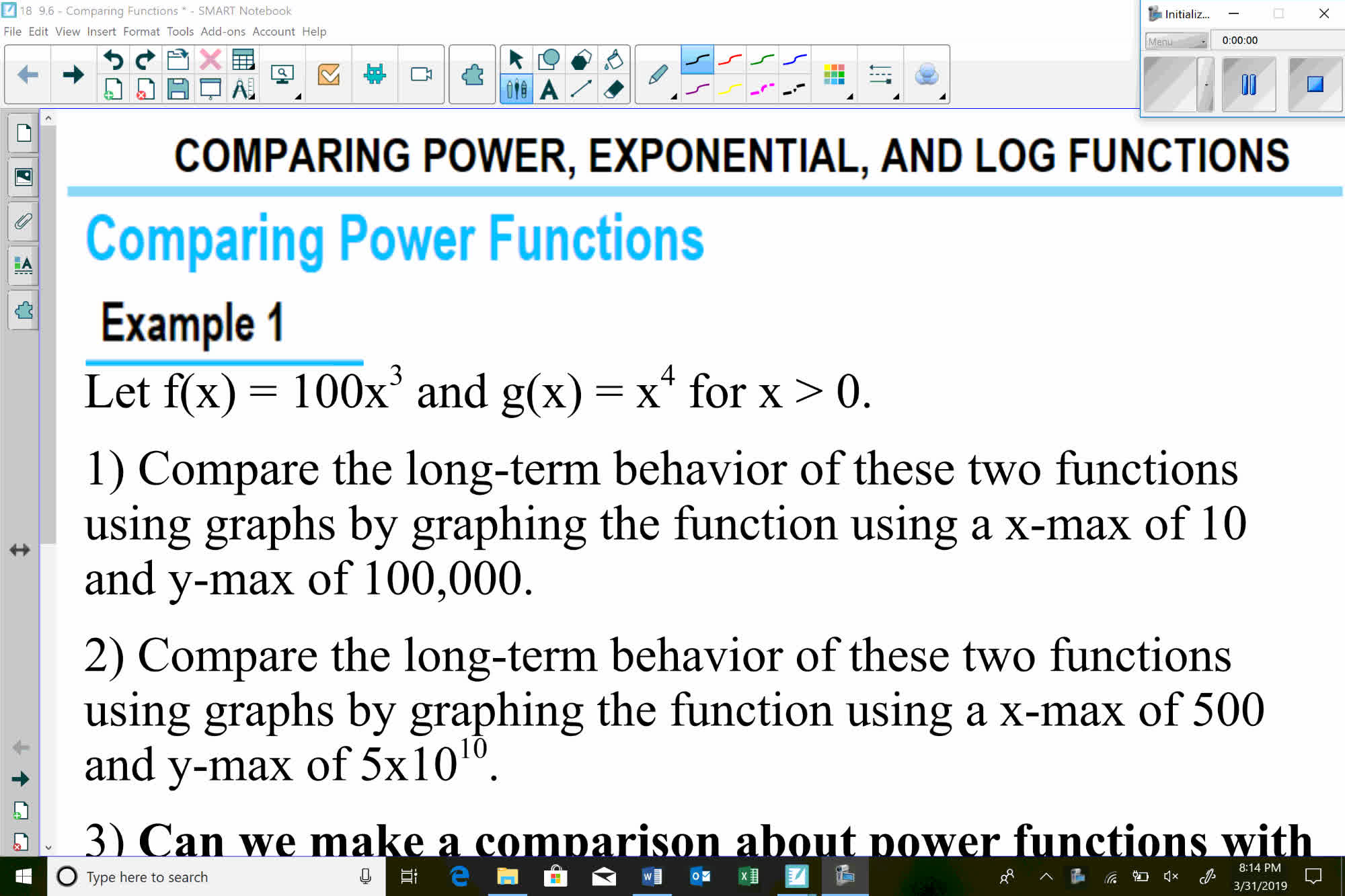 Pre-Calc Comparing Power, Exponential, and Power Functions