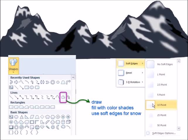 Create Mountains With Snow Using PowerPoint | Drawings and Design Ideas |