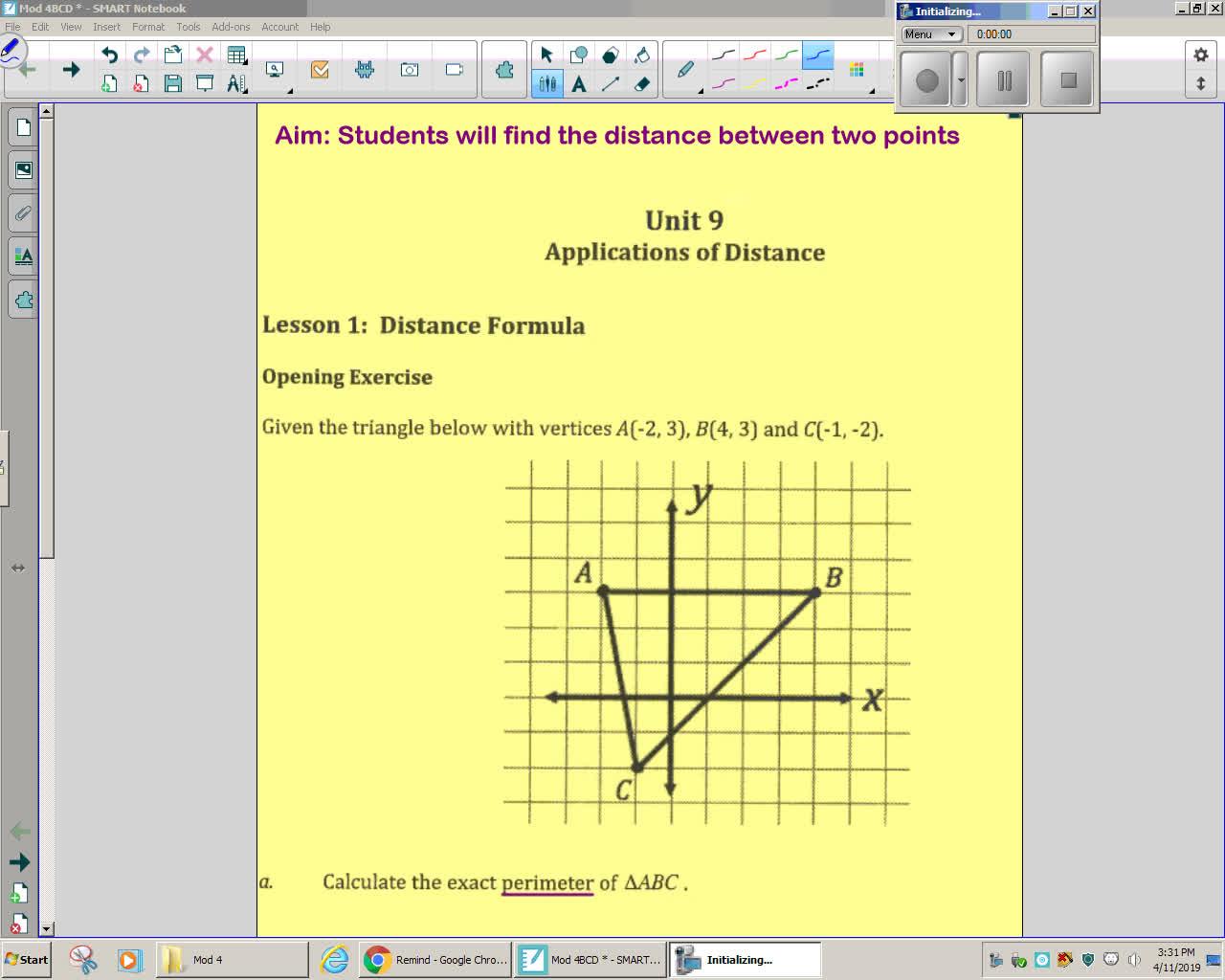 Unit 9 Lesson 1 Distance Formula