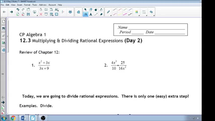 12.3 Day 2 Notes Dividing Rational Expression