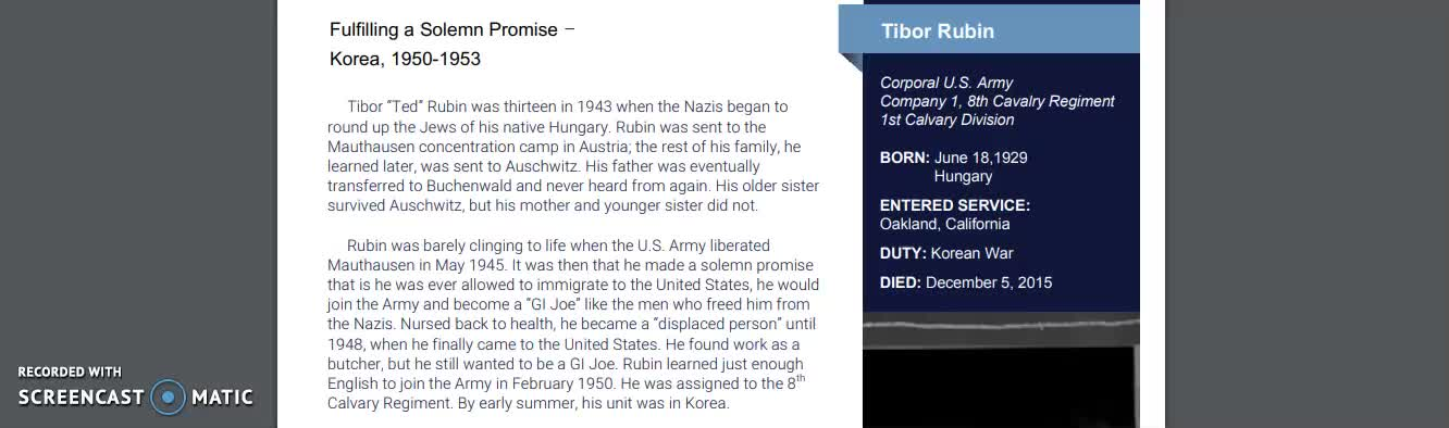 Reading Passage about Medal of Honor recipient Tibor Rubin