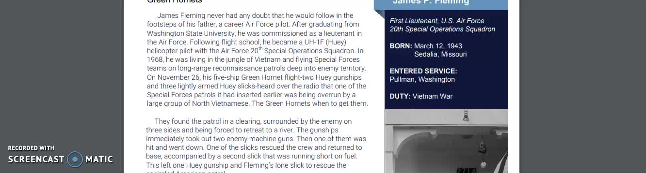 Reading Passage about Medal of Honor recipient James Fleming