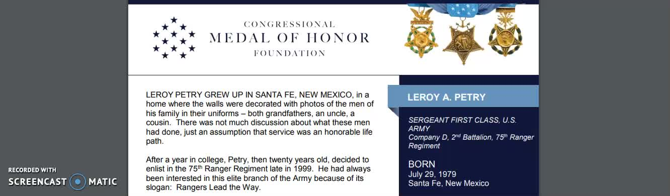 Leroy Petry- Medal  of Honor Profile