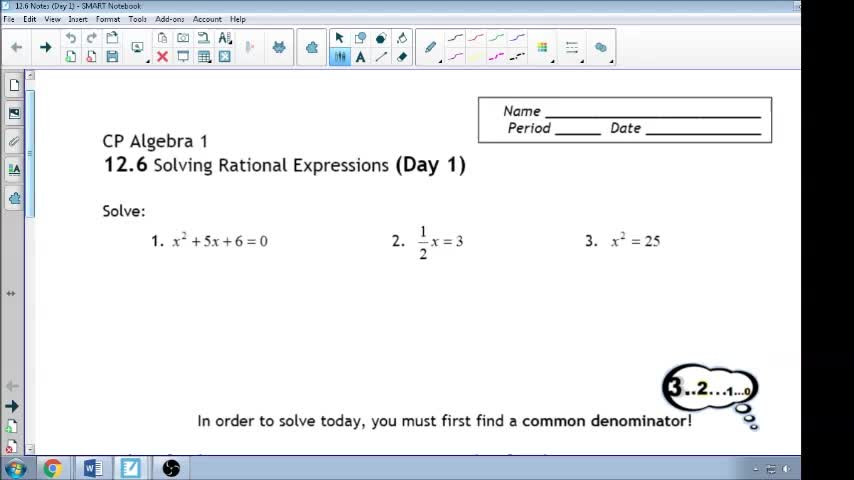 12.6 Day 1 Notes Solving Rational Equations