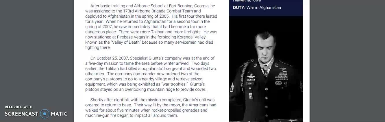 Sal Giunta - Medal of Honor Passage - STAAR