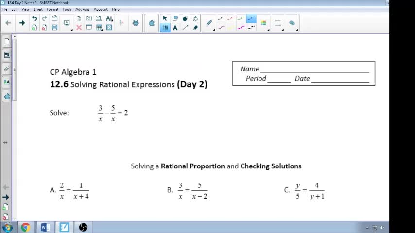 12.6 Day 2 Notes Solving Rational Proportions