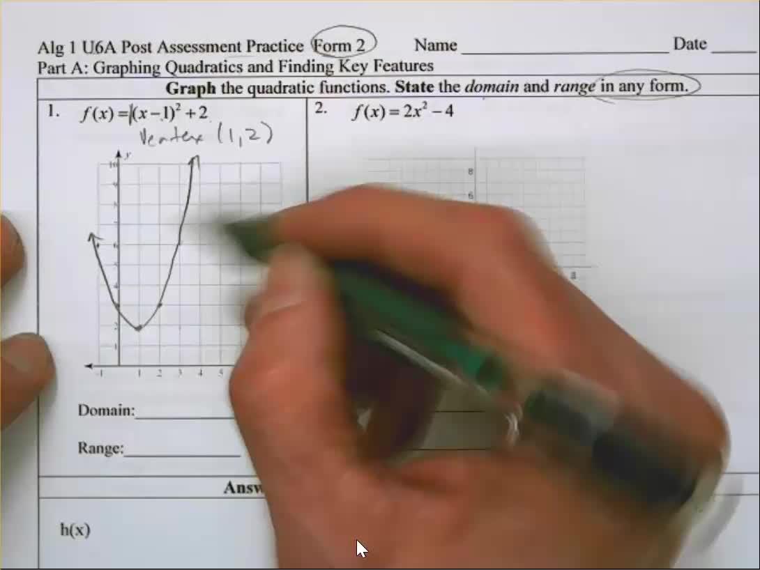 Algebra 1 Unit 6A Practice Test Form 2