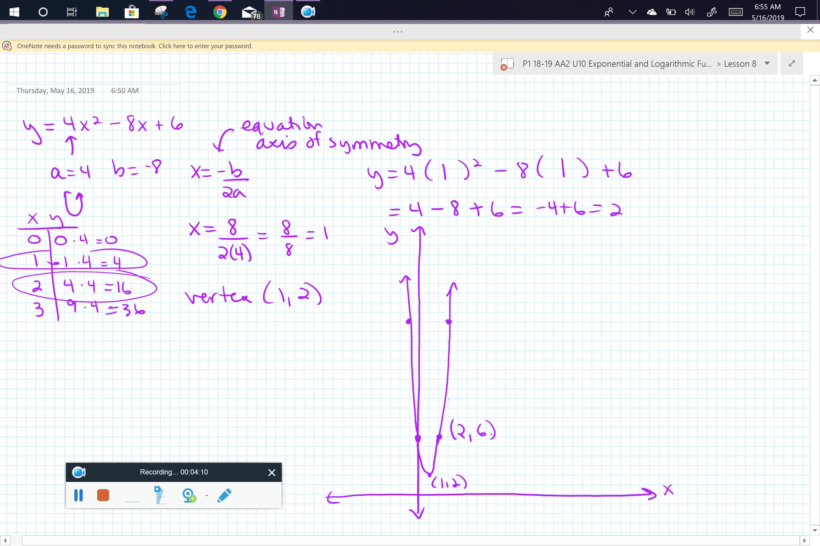 Graphing a Quadratic from standard form