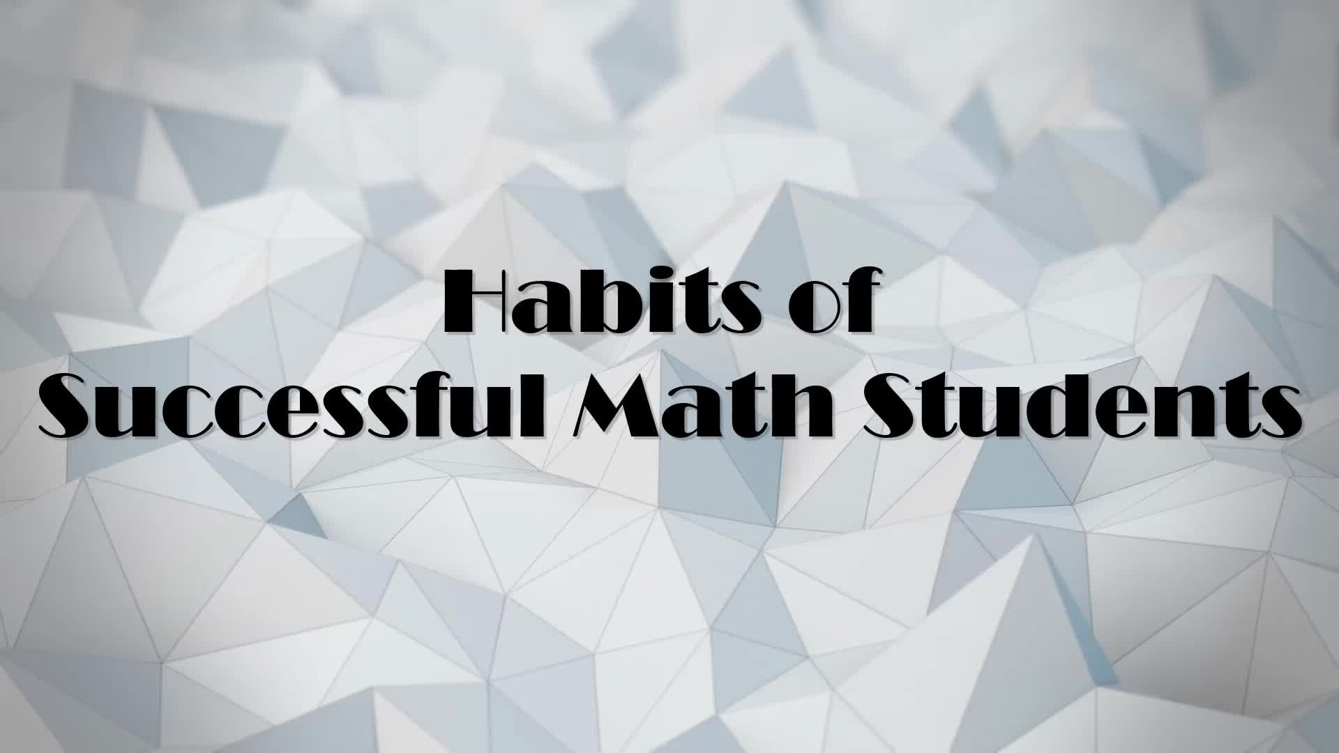 Habits of Successful Algebra Students