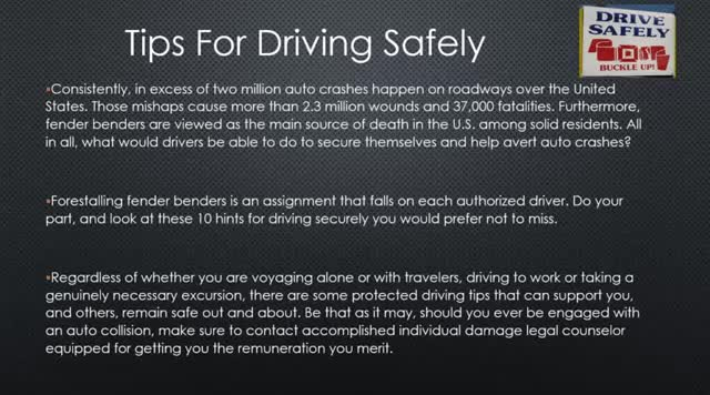 Driving Safely/Tips For Driving Safely