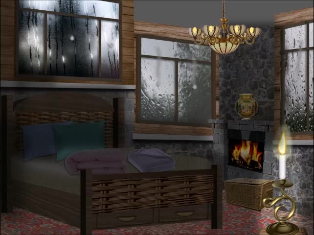 Animated Illustration | Dark bedroom, Rainy Night | Creative PowerPoint |
