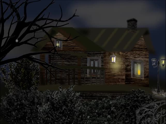 Animated Illustration | Timber Lodge, Dark Night Lightning Drizzle | Creative PowerPoint |