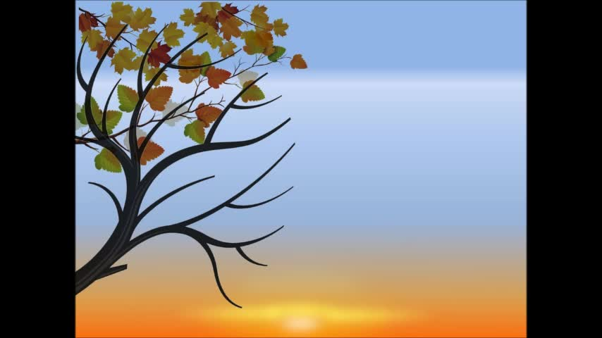 """Setting Sun in Fall"" Animation Using PowerPoint 