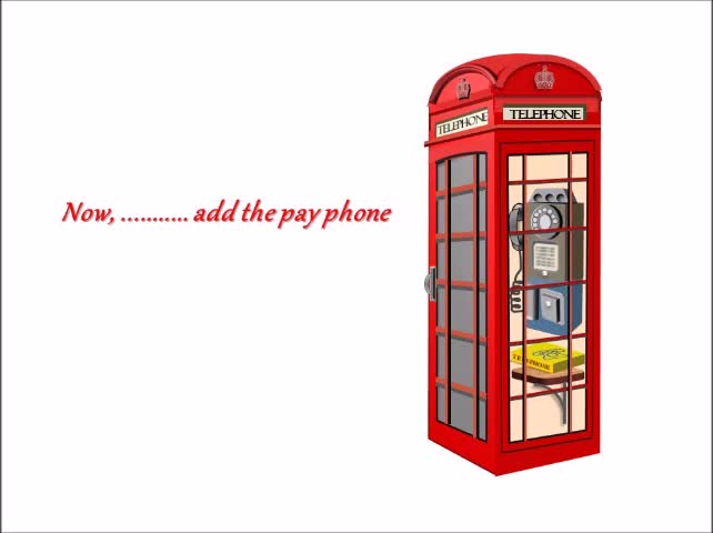 Illustration Using PowerPoint | Vintage Phonebooth Construction | Ideas  for Creative PowerPoint |
