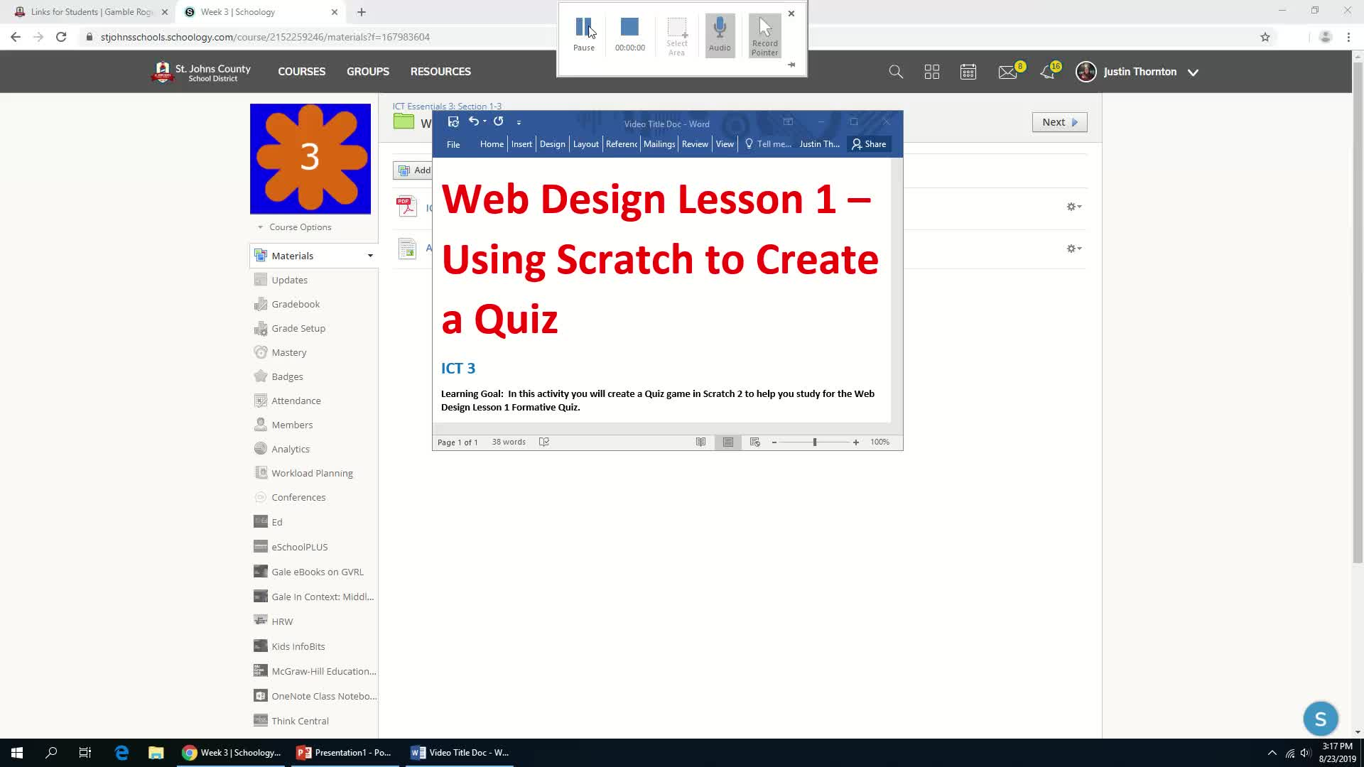 Assignment - Using Scratch 2 to Create a Quiz