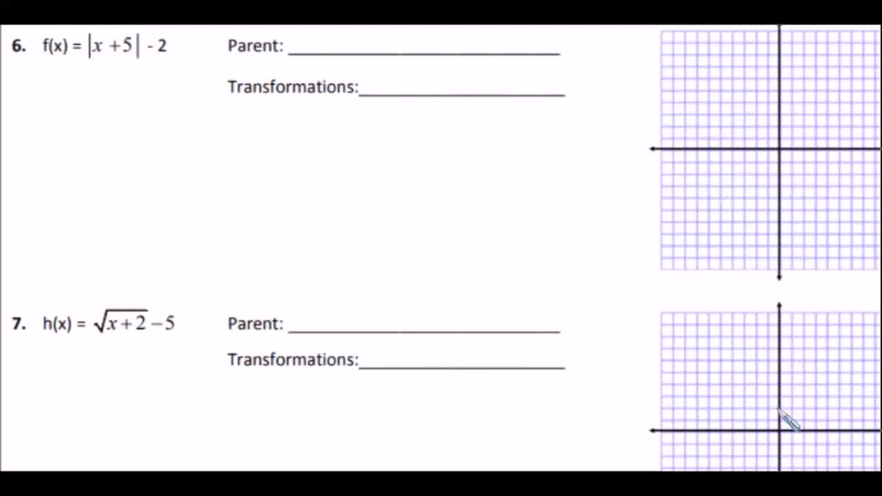 Translating parent functions SPANISH explanation