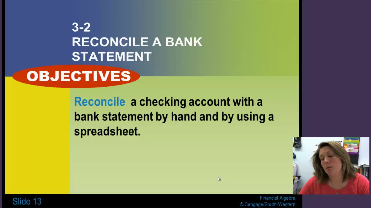 Lesson 3-2: Reconcile a Bank Statement