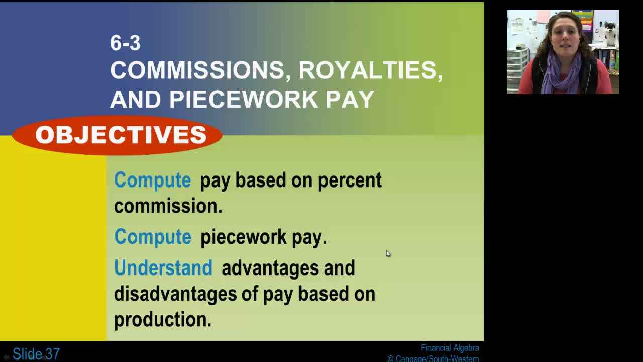 Lesson 6-3: Commissions, Royalties, and Piecework Pay