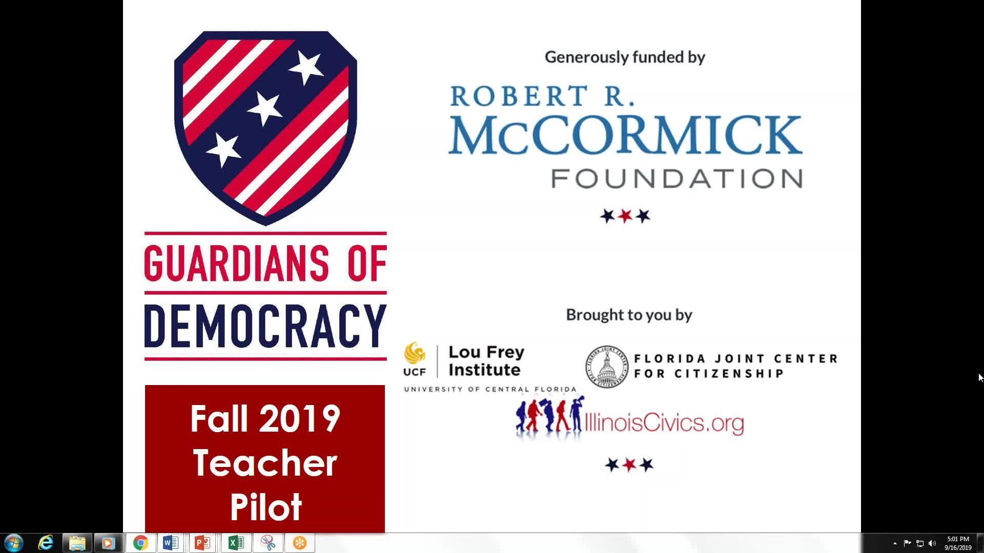 16 Sep 19 Guardians of Democracy Pilot Webinar