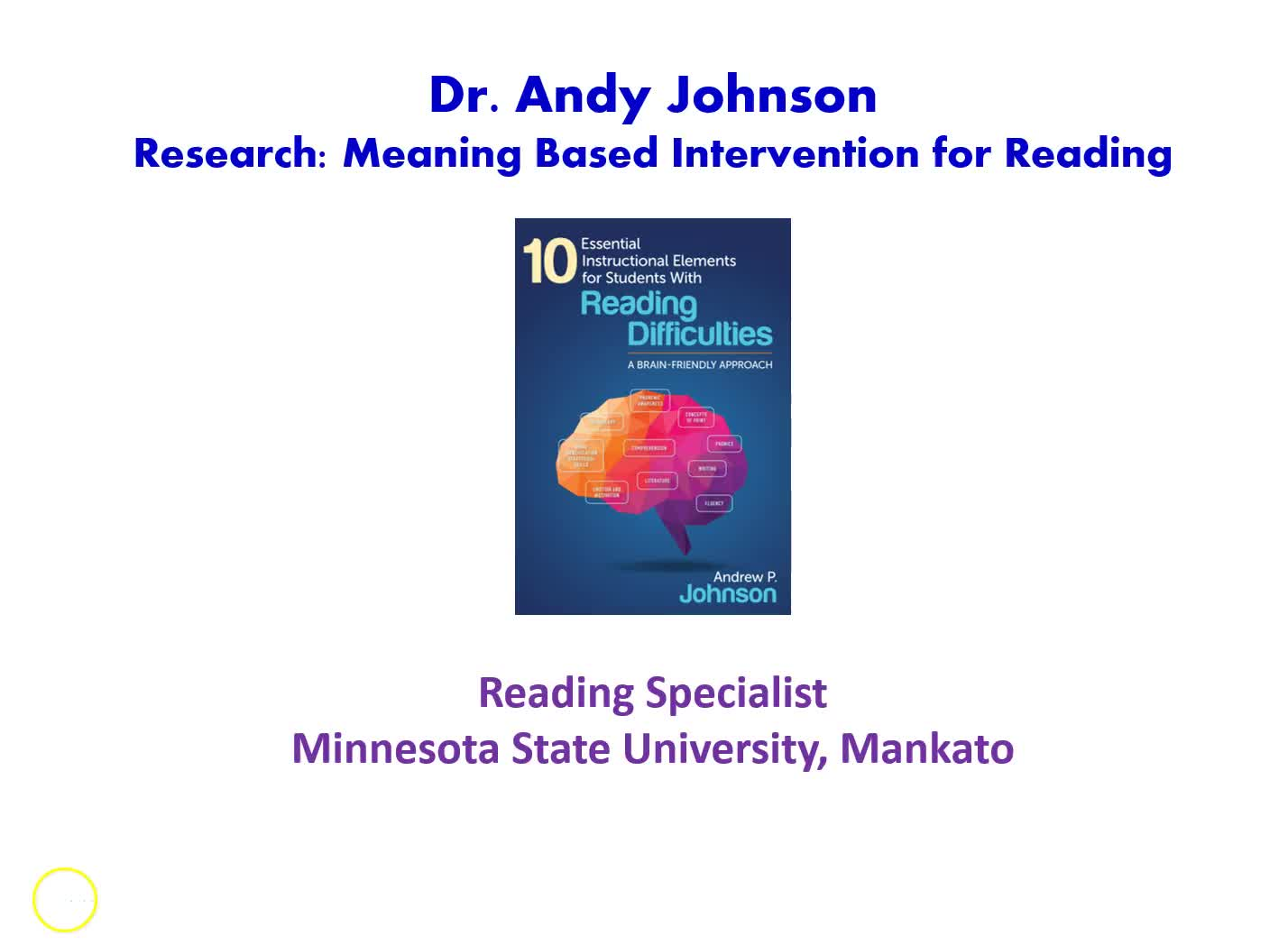Research Project: Meaning-Based Intervention For Reading