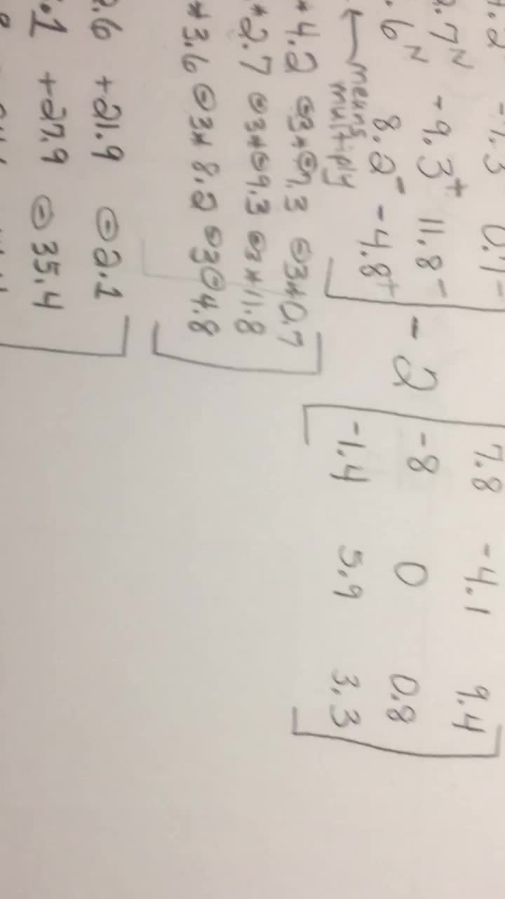 Matrices - Video 5 of 6 - Multiply, Add, Subtract Decimals