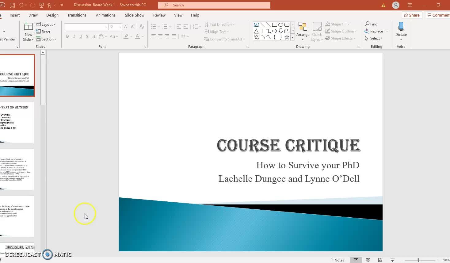 Course Critique Week !